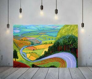 DAVID HOCKNEY 2-  FRAMED CANVAS ARTIST WALL ART PAPER PICTURE PRINT- VALLEY