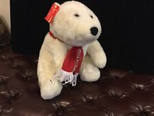 "Coca Cola Polar Bear Coke White Plush Stuffed Animal 15"" 1995 Scarf Around Neck"