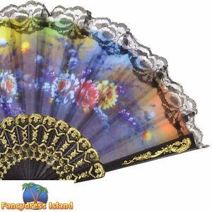 Fan Lace Floral Design Oriental Flowers Classic Ladies Fancy Dress Accessory