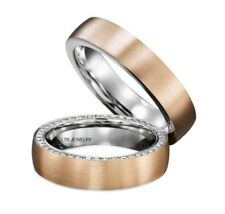 10K TWO TONE GOLD DIAMOND MATCHING HIS & HERS WEDDING BANDS RING MENS WOMENS SET