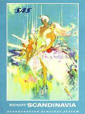 Voyages SCANDINAVIE SAS compagnie aérienne vintage repro Poster Art Print 1021pylv