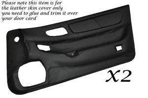 BLACK LEATHER 2X DOOR CARDS SKIN COVERS FITS MITSUBISHI GTO 3000GT 1992-1999