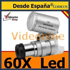 MINI MICROSCOPIO LUPA  60X  CON  LUZ LED Y UV   ZOOM DESDE ESPAÑA