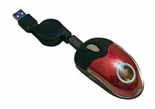Retractable Mini Optical USB Mouse for Laptops & Notebooks - Right + Left Handed