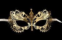 Maschera Veneziano Lupo IN Pizzo Di Metallo Dorata Strass Carnevale Venezia 1261