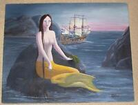 MERMAID ARTISTIC NUDE OCEAN NAUTICAL GALLEY SHIP FOLK ART LISTED ARTIST PAINTING