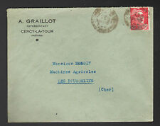 """CERCY-la-TOUR (58) Représentant en MATERIEL AGRICOLE """"A. GRAILLOT"""" Voyagée 1948"""