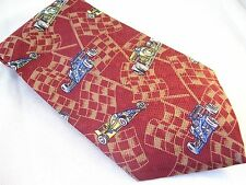 7th Ave Race Car & Flags Novelty Tie Men's Imported Silk Necktie Red USA