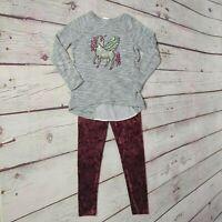 Blush Angels Girls 2PC Unicorn Sweater Purple Velour Pants Set Size 8 MINT!
