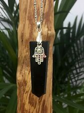 Black Tourmaline Pendant With Hamsa Hand Khamsa Gemstone Specimen Hand Of Miriam