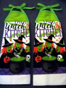 Halloween Witches Handmade Hanging White Microfiber Kitchen Towels Set