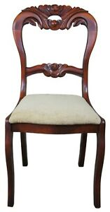 Antique Victorian Ornately Carved Mahogany Balloon Back Parlor Side Accent Chair