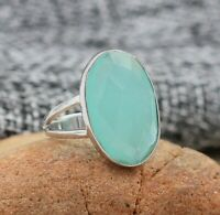 Solid 925 Sterling Silver Jewelry Chalcedony Gemstone Wedding Gift For Wife Ring
