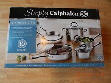 NEW SIMPLY CALPHALON STAINLESS STEEL 10 PIECE SET BRAND NEW