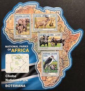 SIERRA LEONE WILD ANIMALS MAP SHAPE STAMPS 16 MNH NAT PARKS AFRICA ELEPHANT BIRD