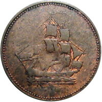 Lower Canada Halfpenny Token Sailing Ship Breton 1005