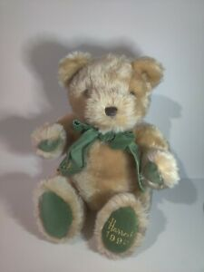 """Harrods of London Teddy Bear 1995 Plush Stuffed Toy Collectible Green Bow 16"""""""