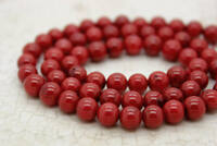 Red Coral Smooth Round Beads Natural Stone Gemstone
