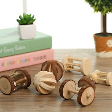 Natural Pine Dumbells Unicycle Bell Roller Chew Toy For Guinea Pig Rat Rabb CWAU