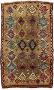 Hand-Knotted Tribal Design Vintage Brown 4X6 Farmhouse Oriental Rug Decor Carpet