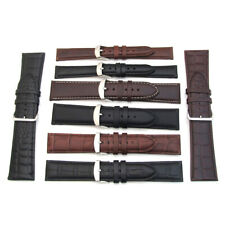 Mens Ladies Watch Band Strap LEATHER CROCODILE & PLAIN 16mm - 30mm Black Brown