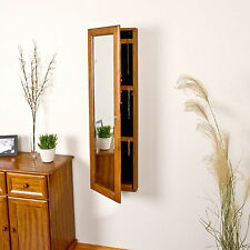 Wall Mount Mirror Jewelry Armoire Wood Cabinet Storage Box Ring Organizer Oak