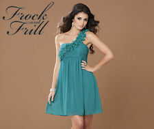 BNWT FROCK AND FRILL 1 SHOULDER RUFFLE DRESS TEAL SIZE 10 BNIP NEW