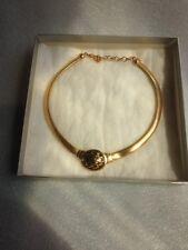 Christian Dior gold tone black enamel necklace / choker NIB
