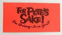 Vintage 1966 For Pete's Sake Billy Graham Christian Film Promotional Sticker