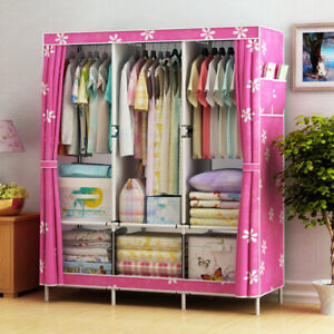 Cloth Wardrobe Fabric Steel Tube Assembly Clothes Shoes Storage Cabinet Bag