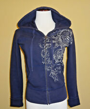 Women's Ralph Lauren Polo Jeans Blue Cotton Graphic Zipped Hoodie Sweater size S