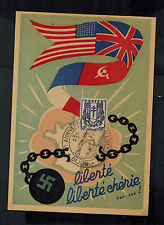 1946 Dijon France postcard Cover 2nd Anniversary of Liberation