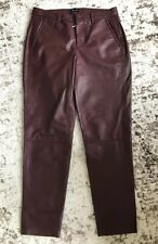 New Madewell Women's Genuine Leather Slim Trousers Pants 2 Maroon Red 07226 $699