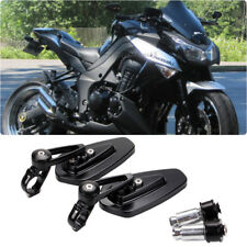 "Black 7/8"" Handle Bar End Side Mirrors For Kawasaki Z1000 Z900 Z800 Z750 Z650 US"