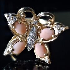 Vintage Butterfly Diamond Angel Skin Coral Cockail Ring Retro 14k Yellow Gold