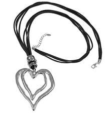 Lagenlook large silver double heart pendant black suede long necklace jewellery