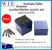 "36pc 6mm (1/4"") Steel Punch Alphabet Letter Number Stamp Tool Metal Leather Craf"