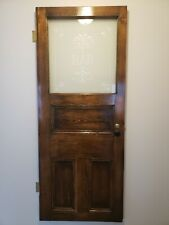"""Antique Oak """"Bar"""" Door with Etched Glass """"Architectural Salvage"""""""