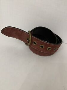 COACH  B43979 Suede Leather Belt Ladies Maroon Curved Size Large
