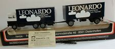 RARE HERPA HO 1/87 CAMION FORD RENAULT + REMORQUE LEONARDO CRISTALLGLAS IN BOX
