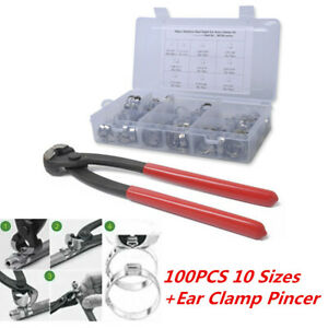 100PCS 10 Sizes Stainless Steel Single Ear Hose Clamps Pincer Kit Adjustable