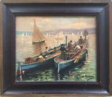 Anne MOURRE 1891-?.Barques dans la baie d'Alger.HST.SBD.22x27.Cadre