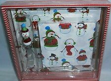 HOLIDAY CHEESE SERVING SET   Snowmen  CUTTING BOARD,NAPKINS,CHEESE SPREADER