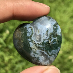 1pc Natural Indian agate heart quartz crystal hand carved pendant healing