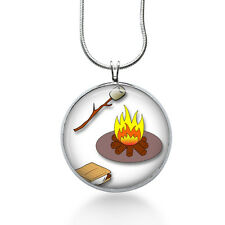 Smores Pendant Necklace, Campfire Jewelry for Her, Womens jewelry