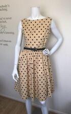 LINDY BOP *NEW* 50'S Retro 'AUDREY' Yellow & Black Polka Dot Swing Dress Sz 10