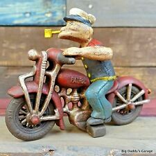 Popeye On Harley Davidson Patrol Motorcycle, Cast Iron Painted Antique Finish