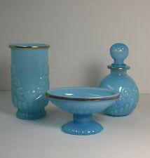 Avon Bristol Blue Glass Opalescent Bathroom 3 Piece Set Soap Perfume Toothbrush