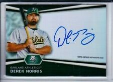 2012 BOWMAN PLATINUM DEREK NORRIS ROOKIE AUTO ON CARD REFRACTER ATHLETICS MS