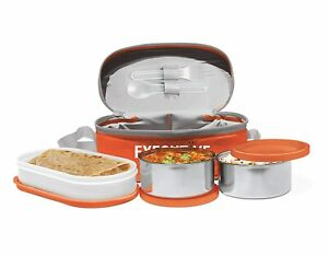 Milton Executive Lunch Box Set of 3 (2 Round container &1 Oval container,Orange
